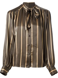 Celine Vintage Striped Shirt Brown