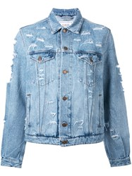 Forte Couture Yeah Distressed Denim Jacket Blue