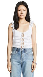 Michaela Buerger Crochet Top White