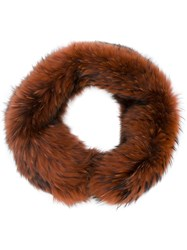 Plein Sud Jeans Wrap Scarf Fox Fur Acetate Viscose Brown