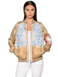 N 21 Satin And Macrame Lace Bomber Jacket