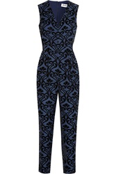 Alice By Temperley Esme Flocked Crepe Jumpsuit Blue