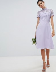 Chi Chi London 2 In 1 High Neck Midi Dress With Crochet Lace Lavender Grey