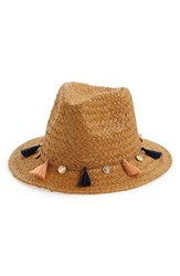 Bp. Tassel And Coin Detail Straw Fedora Beige Natural Multi