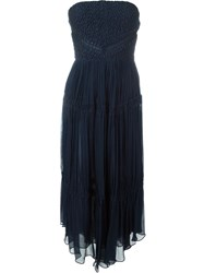 Jay Ahr Strapless Midi Dress Blue