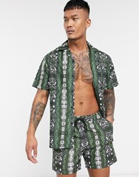 South Beach Swim Shorts In Snake Print Green