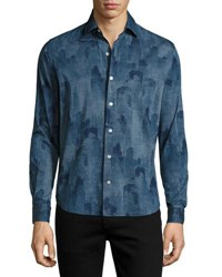 Culturata Voltri Printed Cotton Sport Shirt Blue