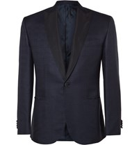 Brioni Navy Slim Fit Checked Silk And Wool Blend Tuxedo Jacket Blue