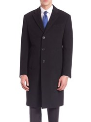 Armani Collezioni Long Sleeve Wool Cashmere Coat Black