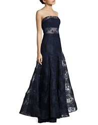 Basix Ii Strapless Lace Gown Navy