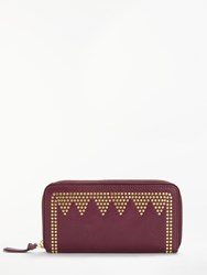 And Or May Leather Stud Zip Around Purse Red