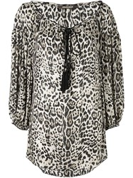 Roberto Cavalli Leopard Print Blouse Nude And Neutrals