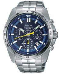 Pulsar Men's Solar Chronograph Stainless Steel Bracelet Watch 45Mm Pz5001 Silver