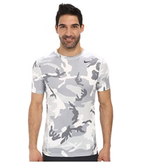 Nike Pro Combat Hypercool Fitted Woodland S S White Wolf Grey White Anthracite Men's T Shirt Gray