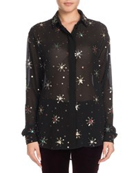Saint Laurent Multicolor Starburst Embellishment Button Down Long Sleeve Silk Blouse Black