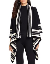 Lauren Ralph Lauren Striped Wool Cardigan Black White