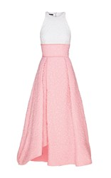 Alex Perry Sissy Cotton Floral Contrast Midi Dress Light Pink
