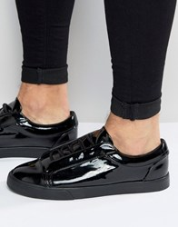 Asos Lace Up Trainers In Black Patent Pu Black Grey