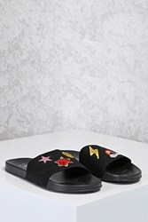Forever 21 Embroidered Slide Sandals Black