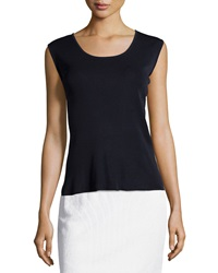 Ming Wang Sleeveless Scoop Neck Shell Navy