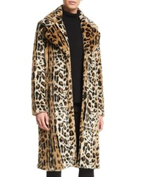 Kendall Kylie Leopard Print Faux Fur Long Coat
