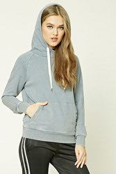 Forever 21 Distressed French Terry Hoodie Charcoal