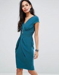 Closet London Pencil Dress With Ruched Front Teal Green