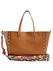 Valentino Rockstud Rolling Reversible Leather Tote Tan Multi