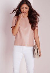 Missguided Faux Leather T Shirt Blush Pink