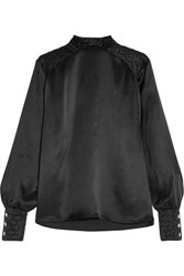 Balmain Pierre Quilted Silk Satin Blouse Black