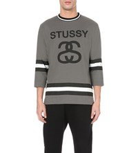 Stussy Three Quarter Sleeve Cotton Jersey T Shirt Grey