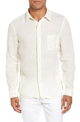 Velvet By Graham And Spencer Men's Shayne Slub Woven Sport Shirt Ecru