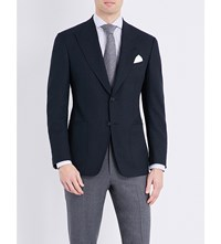 Tom Ford Regular Fit Wool And Silk Blend Jacket Blue