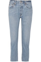Re Done Originals Cropped Frayed High Rise Boyfriend Jeans Blue