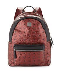 Stark No Stud Coated Canvas Medium Backpack Scooter Red Metallic Red Mcm