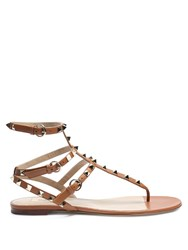 Valentino Rockstud Leather Flat Sandals Tan