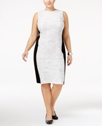 Calvin Klein Plus Size Colorblocked Tweed Sheath Dress Soft White