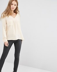 Y.A.S Fan Blouse With Pocket Detail Cream