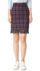 Sjyp Fringe Trim Plaid Check Skirt Navy