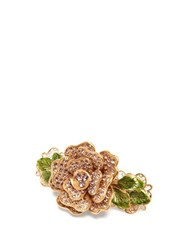Dolce And Gabbana Rose Crystal Flower Hair Clip Gold
