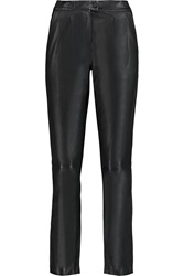 Karl Lagerfeld Erica Leather Tapered Pants Black