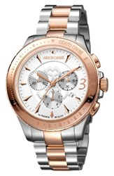 Roberto Cavalli Men's By Franck Muller Chronograph Bracelet Watch 43Mm Silver White Rose Gold