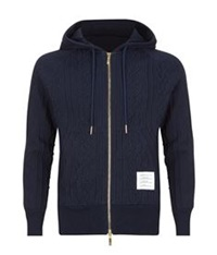 Thom Browne Cable Knit Zip Hoodie Navy