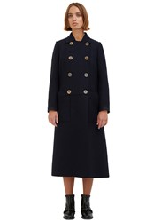 Maison Rabih Kayrouz Long Double Breasted Coat Navy