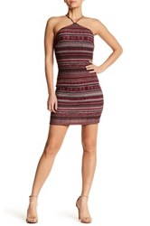 Lush Halter Neck Striped Dress Red
