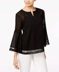 Trina Turk Cotton Bell Sleeve Peasant Top Black