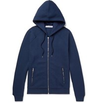 Orlebar Brown Ayfield Quilted Cotton Jersey Zip Up Hoodie Navy