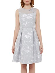 Ted Baker Tie The Knot Alimi Oriental Blossom Bow Neck Dress Light Grey