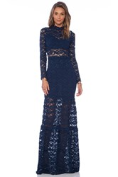 Nightcap Dixie Lace Long Sleeve Gown Navy