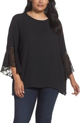 Sejour Plus Size Women's Embroidered Bell Sleeve Blouse Black